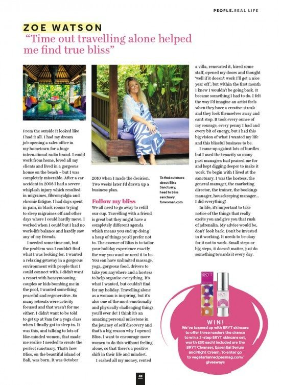 "Veggie Magazine: Zoë Watson ""Time out travelling alone helped me find true bliss"""