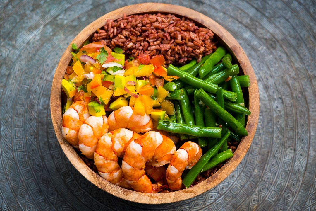Yummy seafood and vegetables - indulge in unlimited healthy and delicious food at our Bliss womens wellbeing retreat in Bali
