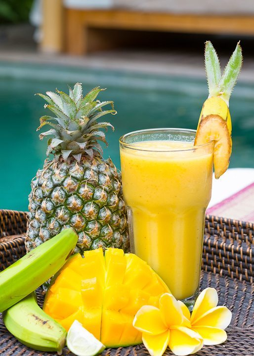 Beautiful fruit juice with mango, pineapple, banana -  Enjoy mouth watering fruit cocktails and gorgeous food with your spa retreat - at Bliss Sanctuary For Women where the food is unlimited