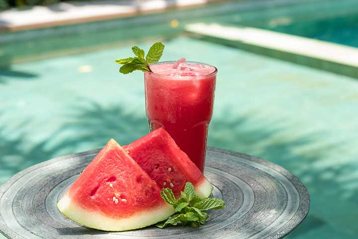 Delicious watermelon drink - at Bliss yoga retreat Bali - where food is unlimited