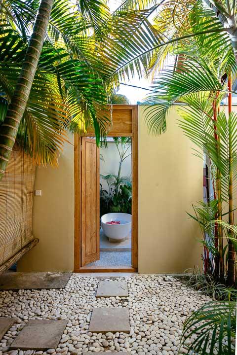 Stunning luxury indoor/outdoor bathroom with stone bath, Bali retreat, Bliss Sanctuary For Women, Seminyak Sanctuary