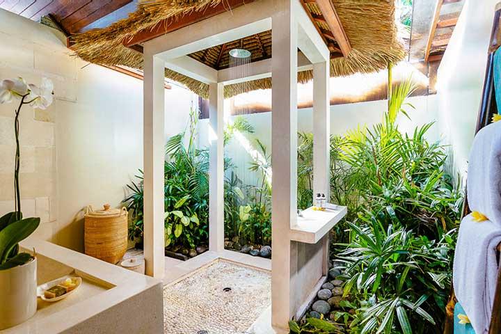 Stunning luxury bathroom with rain shower, Bali retreat, Bliss Sanctuary For Women, Seminyak Sanctuary