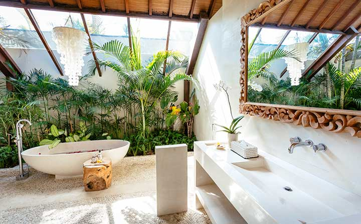Stunning luxury bathroom with stone bath, Bali retreat, Bliss Sanctuary For Women, Seminyak Sanctuary
