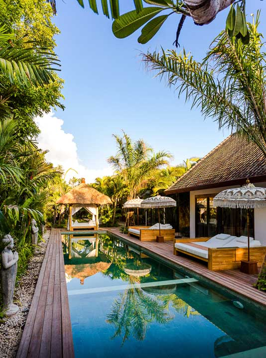 Our stunning Seminyak sanctuary retreat with sparkling pool and day beds to relax and unwind