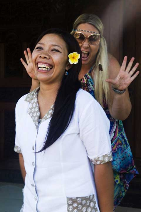 Zoë and Wayan, fun times at Bliss Sanctuary for Women, Bali