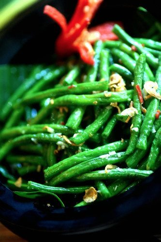 Delicious green beans  prepared with love at our Bliss Bali Wellbeing retreat