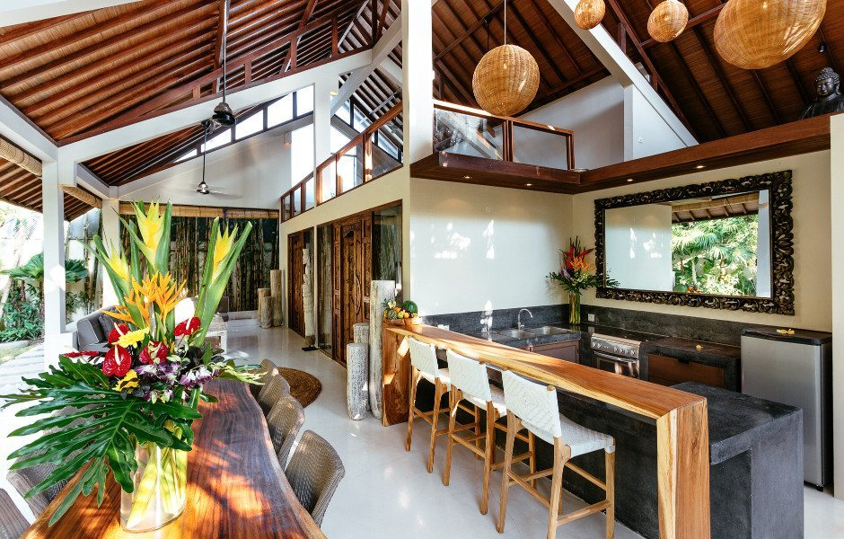 Luxury dining area in Bali yoga and spa retreat in Seminyak, Bali
