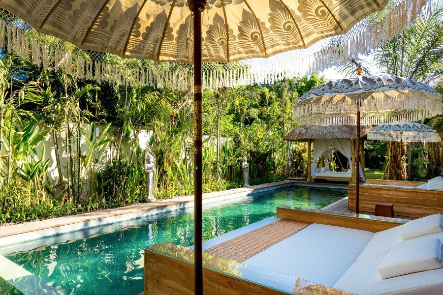 Bali retreats, Beautiful Bliss Sanctuary For Women, Seminyak Sanctuary, luxurious outdoor area overlooking the pool