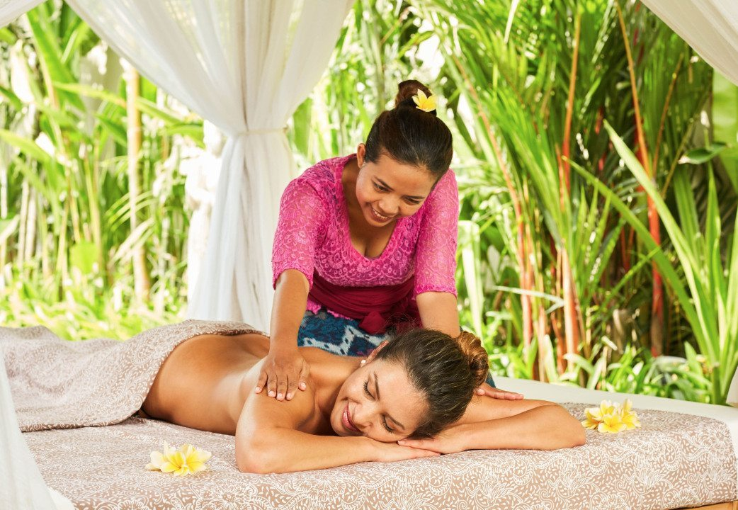 Woman receiving luxurious massage