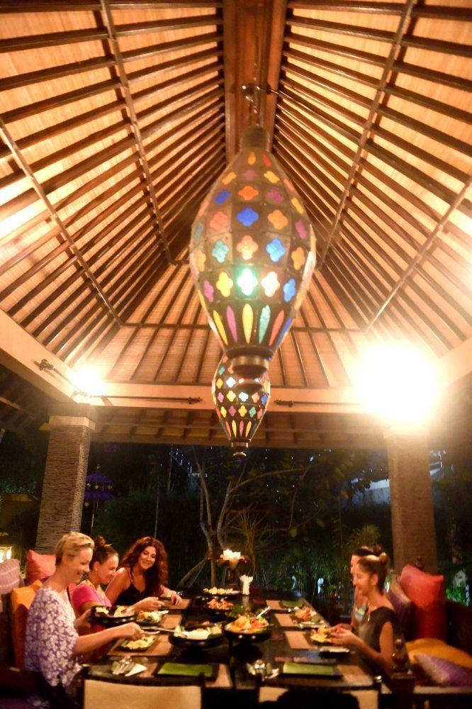 Women enjoying evening dinner together