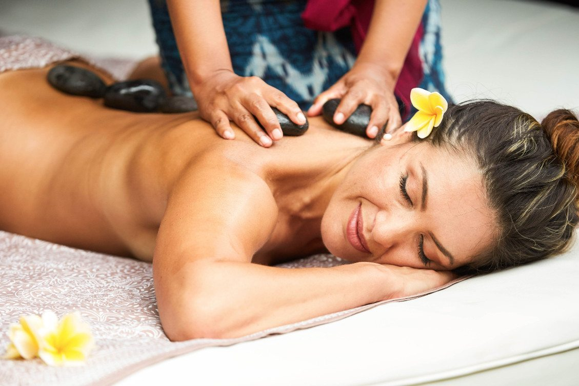 Relaxing stone back massage at Bliss