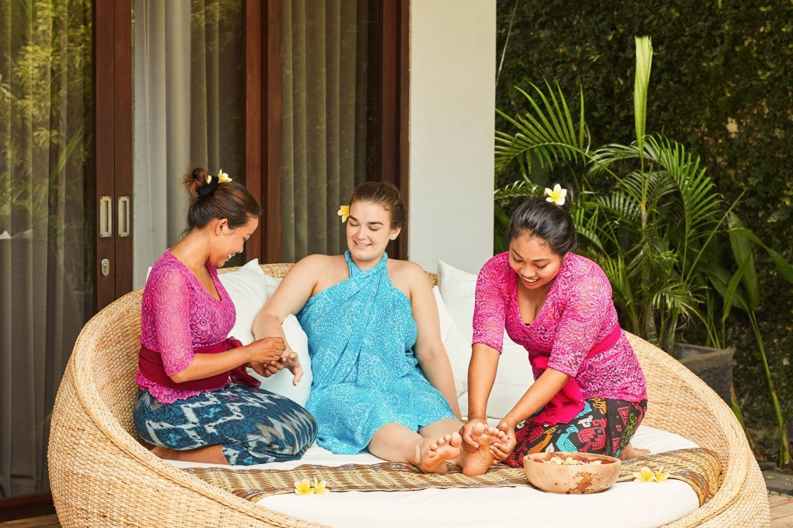 Self Empowerment Package - Unlimited massage and spa treatments choose from balinese massage, thai massage, hot stone massage, cream bath, herbal ball massage, reflexology, body scrub, facial, manicure & pedicure, aromatherapy.