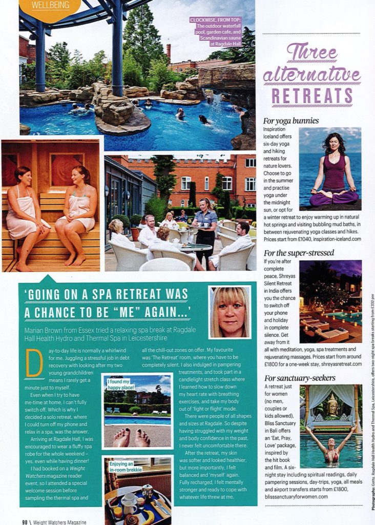 Weight Watchers Magazine: Give Yourself a (Wellbeing) Break – Bliss Sanctuary For Women