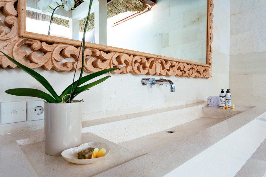 Bliss Sanctuary for Women Seminyak Villa luxurious bath room with essentials