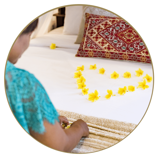 heart on the bed in petals at our Bali Healing Retreat Sanctuary for Women