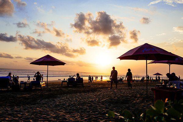 Blissful Seminyak sunset, Bali beach at night