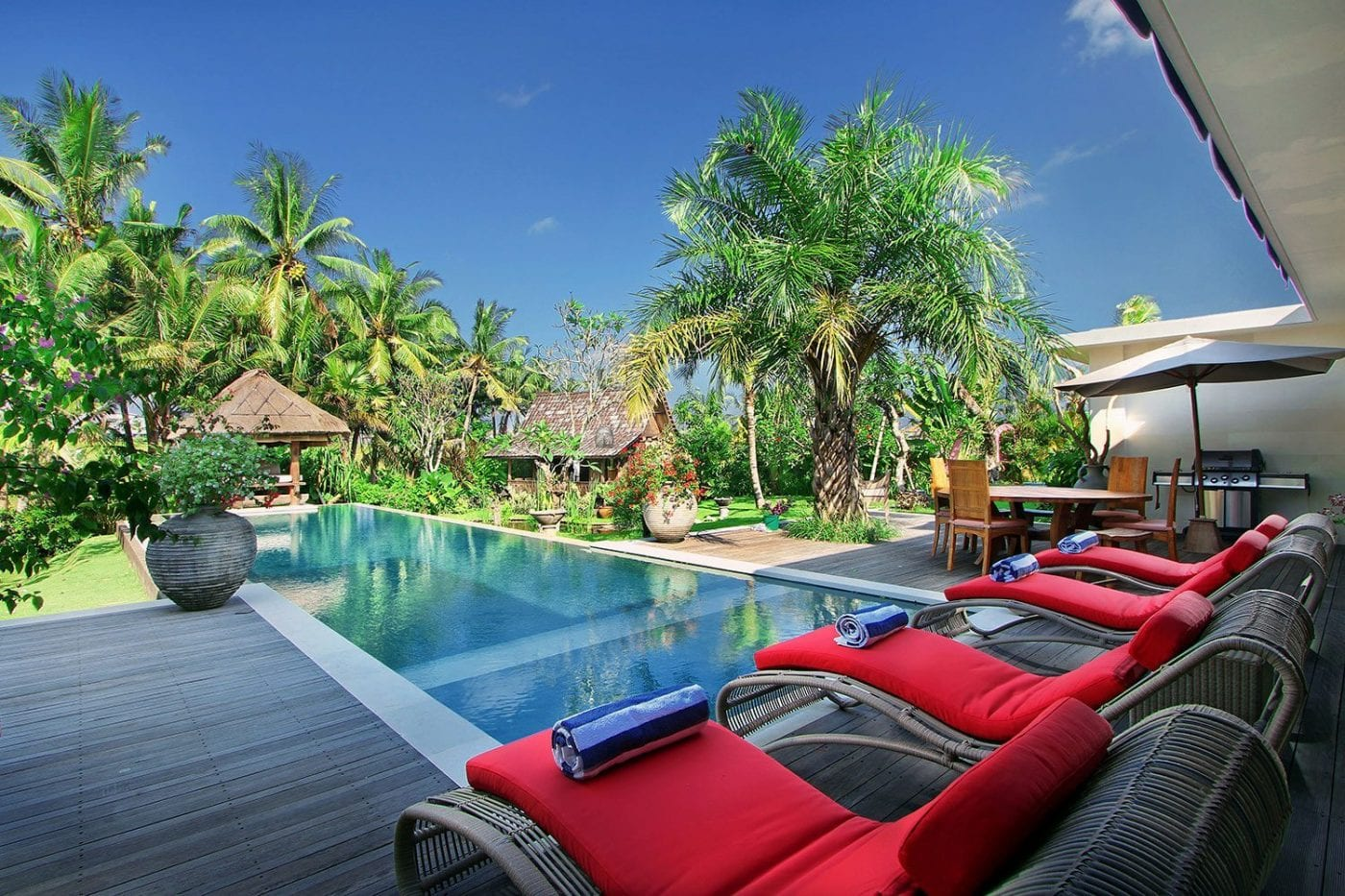 Private pool chairs in stunning gardens at our Canggu Bliss Sanctuary