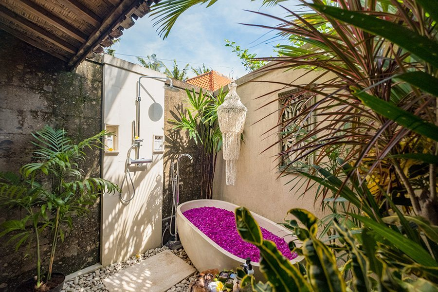 Stunning luxury bathroom, Bali retreat, rose petal bath, Bliss Sanctuary For Women, New Canggu Sanctuary