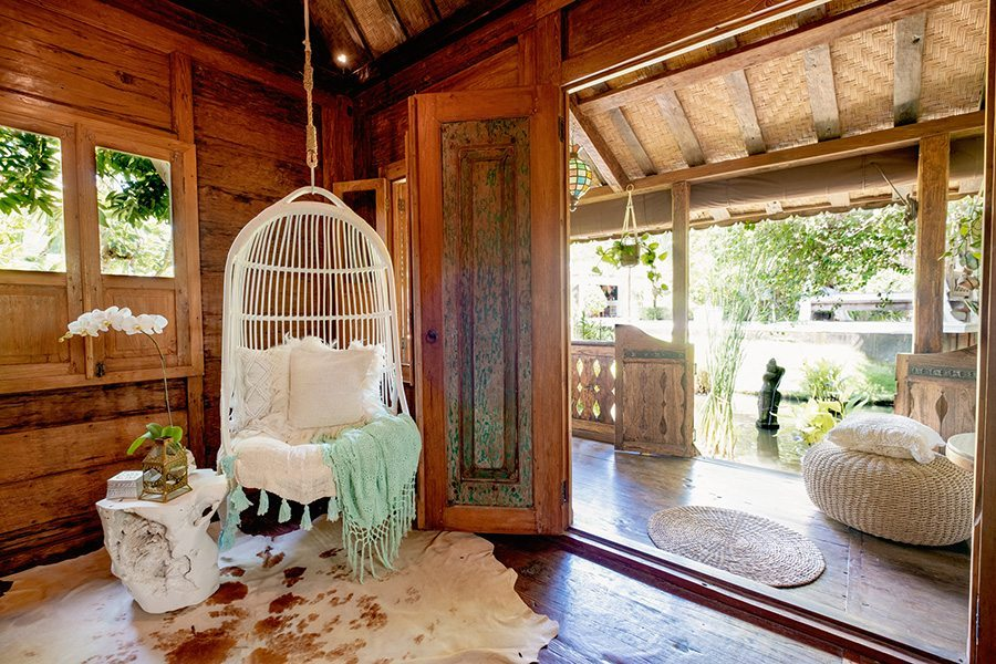 Bali retreat, Canggu, Bliss Sanctuary for Women gorgeous gardens with swing chairs and chill out areas to relax and unwind