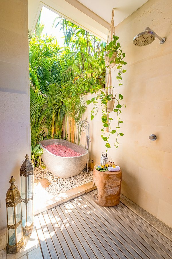 Stunning luxury outdoor bathroom, rose petal path, Bali retreat, Bliss Sanctuary For Women, Canggu Sanctuary