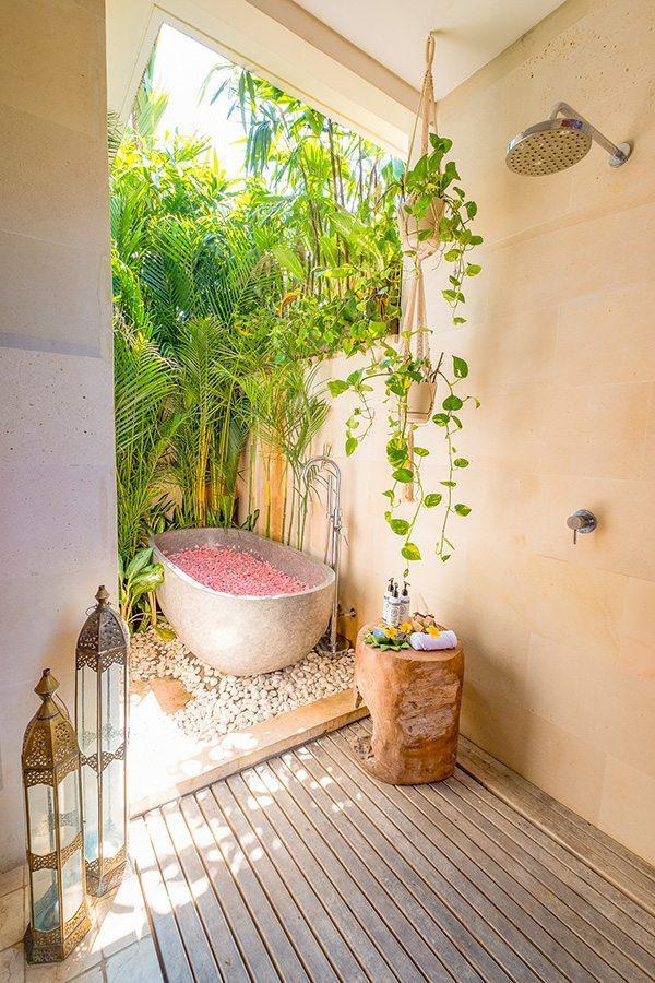 Stunning luxury outdoor bathroom, rose petal path, Bali retreat, Bliss Sanctuary For Women, Canggu Sanctuary