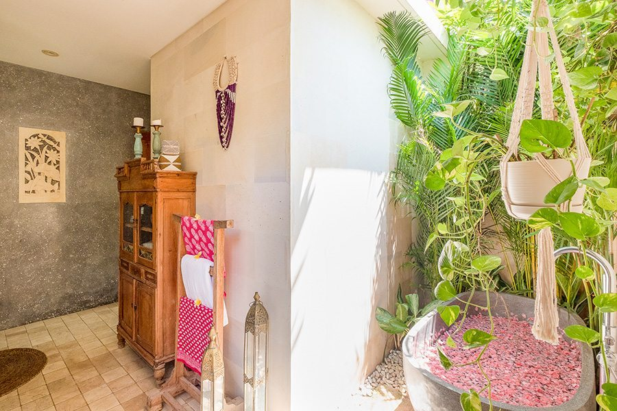 Stunning luxury outdoor bathroom, rose petal path, Bali retreat, Bliss Sanctuary For Women, New Canggu Sanctuary