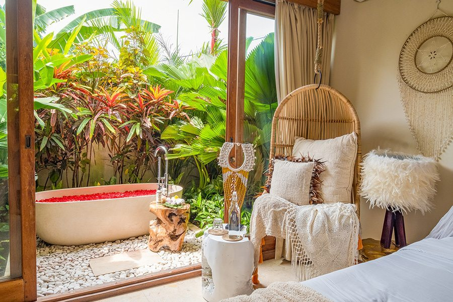 Beautiful bedroom, rose petal bath, Bali retreat, Bliss Sanctuary For Women, New Canggu Sanctuary