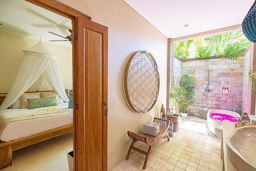 Stunning luxury bed and bath, rose petal path, Bali retreat, Bliss Sanctuary For Women, New Canggu Sanctuary