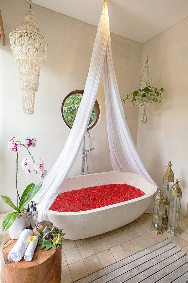 Stunning luxury bathroom, rose petals, Bali retreat, Bliss Sanctuary For Women, New Canggu Sanctuary