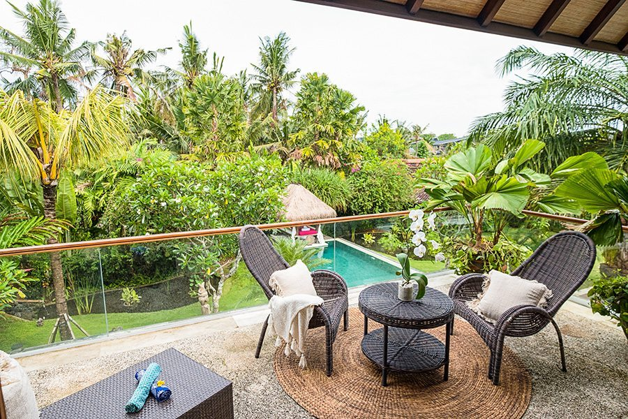 Bali retreats, Beautiful Bliss Sanctuary For Women, New Canggu Sanctuary, luxurious outdoor area overlooking the pool