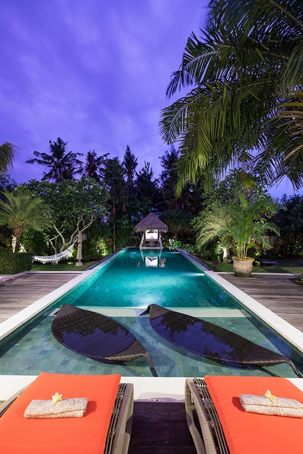 Bali retreats, Bliss Sanctuary For Women, New Canggu Sanctuary, beautiful pool at night