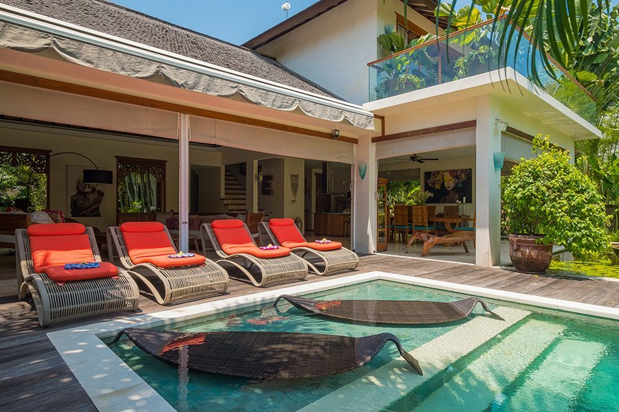 Bali retreats, Beautiful Bliss Sanctuary For Women, New Canggu Sanctuary, luxurious pool area