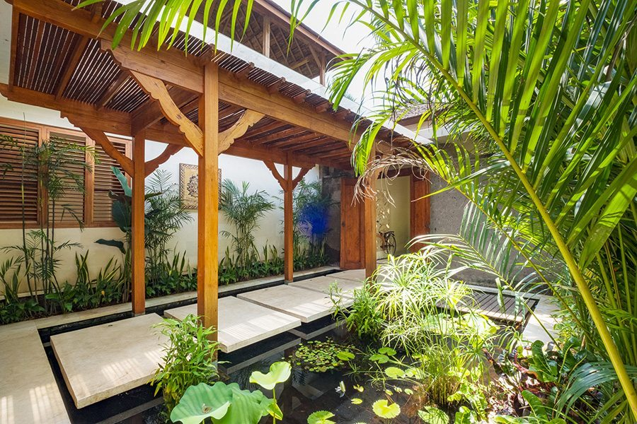 Luxury outdoor pond area, Bali retreats, Bliss Sanctuary For Women, New Canggu Sanctuary,