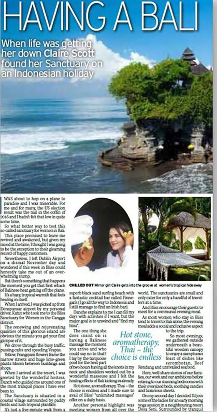 Irish Daily Mirror: Having a Bali in Paradise - When life was getting her down Claire Scott found her sanctuary on an Indonesian holiday.