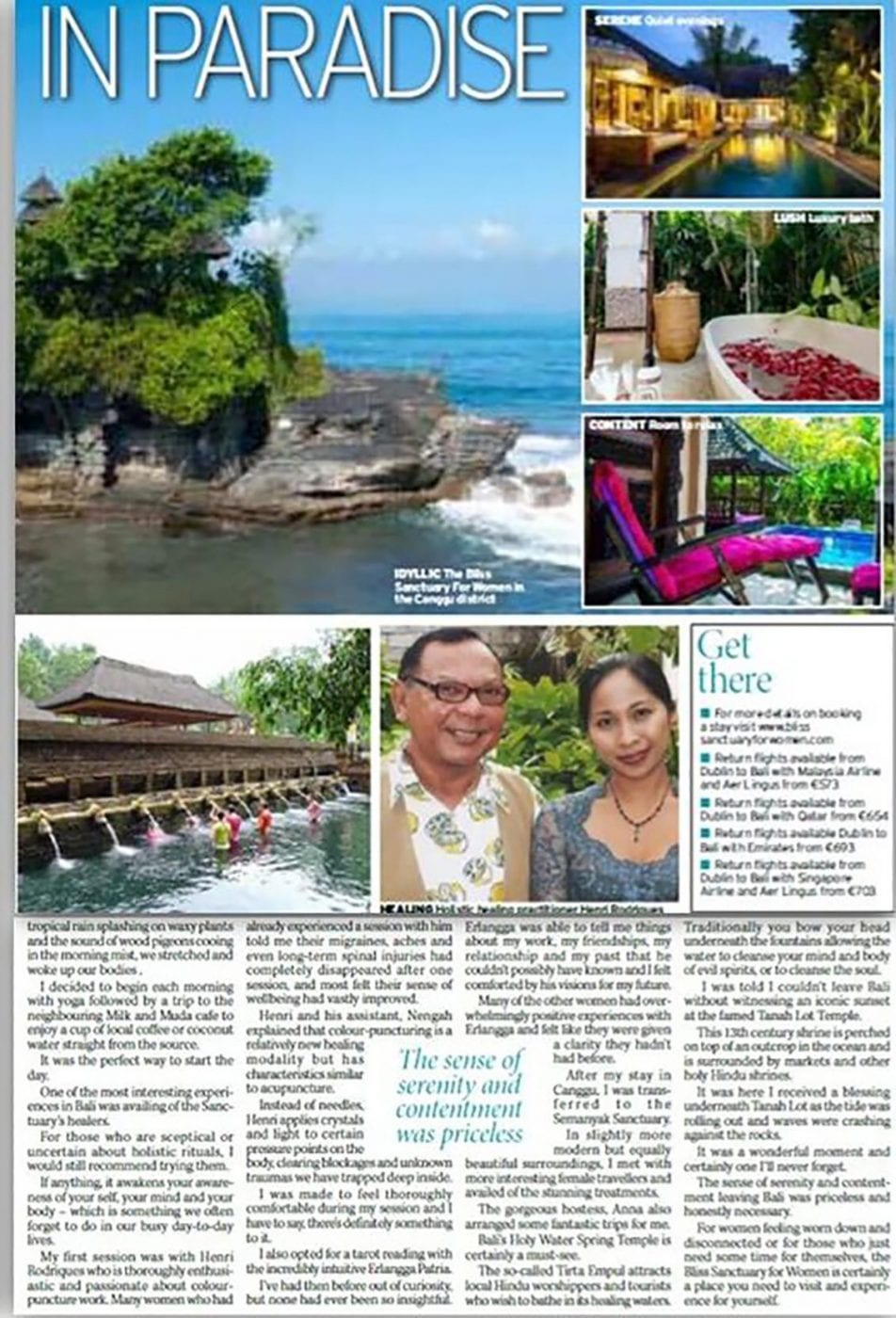 Irish Daily Mirror: Having a Bali in Paradise - Claire Scott