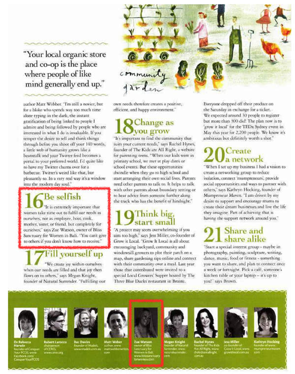 """Nature & Health Magazine: Find Your Tribe - Featuring Bliss Sanctuary For Women - """"Be Selfish - It's extremely important that we take time out to fulfil our needs..."""""""