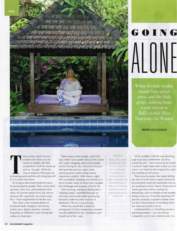 The Adelaide Magazine: Going Alone – When it's time to play truant from urban stress and the daily grind, nothing beats a solo retreat – Bali's restful Bliss Sanctuary For Women