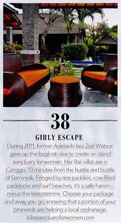 Adelaide Magazine: Girly Escape