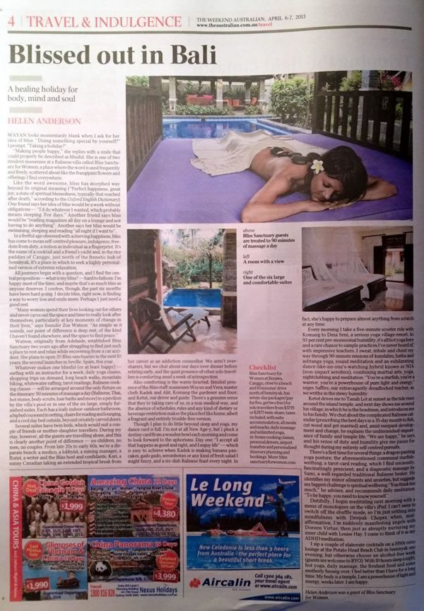 The Weekend Australian: Bliss out in Bail – A healing holiday for body, mind and soul.