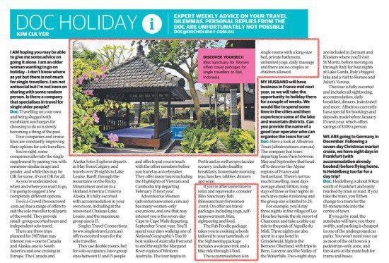 Herald Sun – Escape: Doc Holiday – Travelling Alone