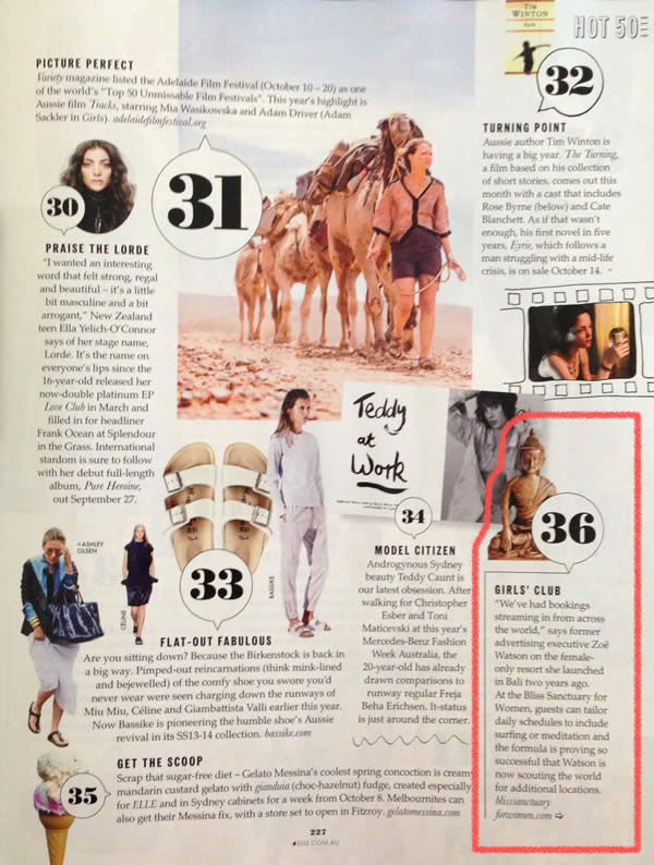 Elle Magazine: Hot 50 – A cultural wrap of everything you need to know to see out 2013 with cred – Girls' Club – Bliss Sanctuary For Women