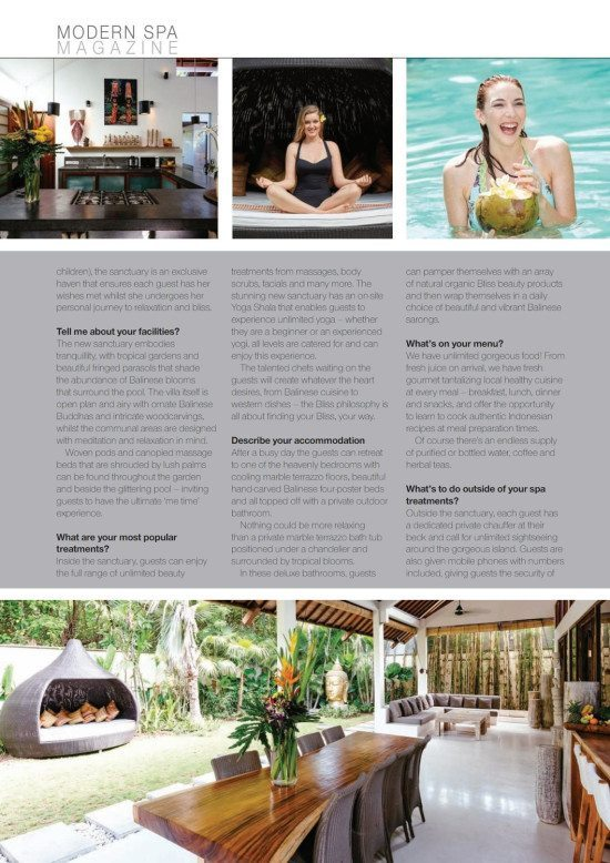 Modern Spa Magazine: Bliss Sanctuary, Seminyak