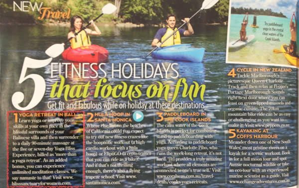 New Idea Magazine: 5 fitness retreat holidays that focus on fun - 1. Yoga retreat in Bali, Bliss Sanctuary For Women