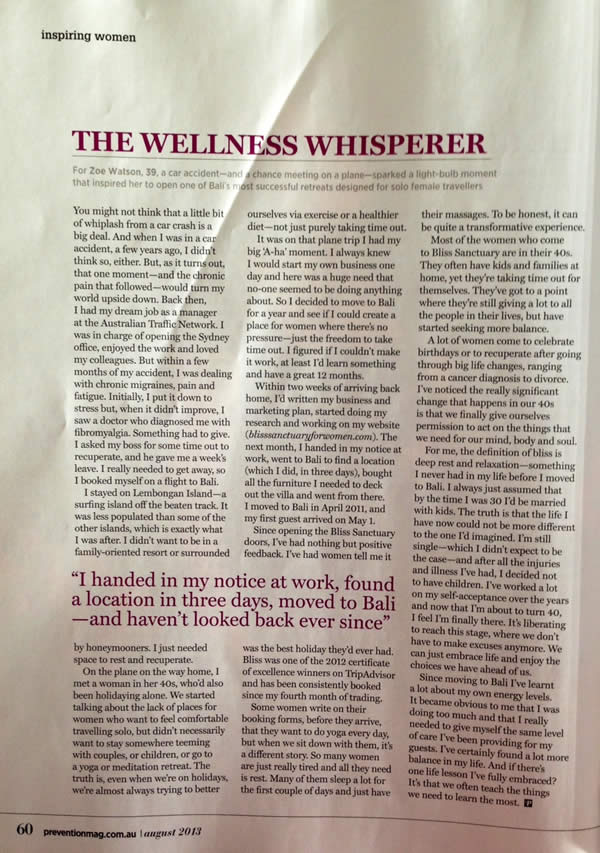 Prevention Magazine: The Wellness Whisperer – Zoë Watson on moving to Bali and starting a business