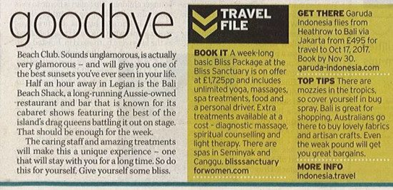 Sunday Mirror: Bliss is the life – Be a lady of leisure and have the daily grind massaged away on a blissful retreat in breathtaking Bali.