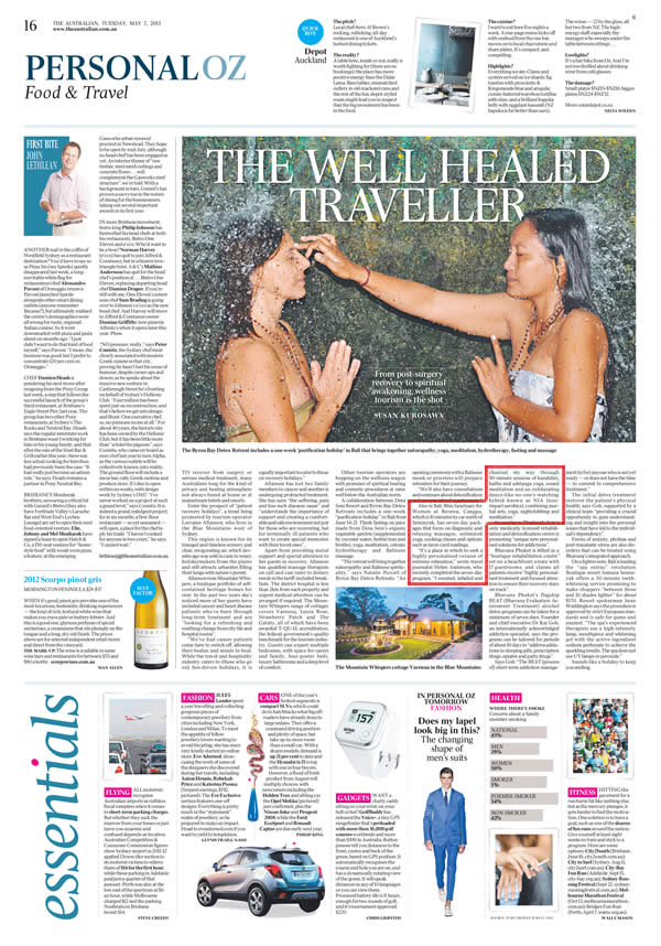 The Australian: The Well Healed Traveller – Retreat Packages Review
