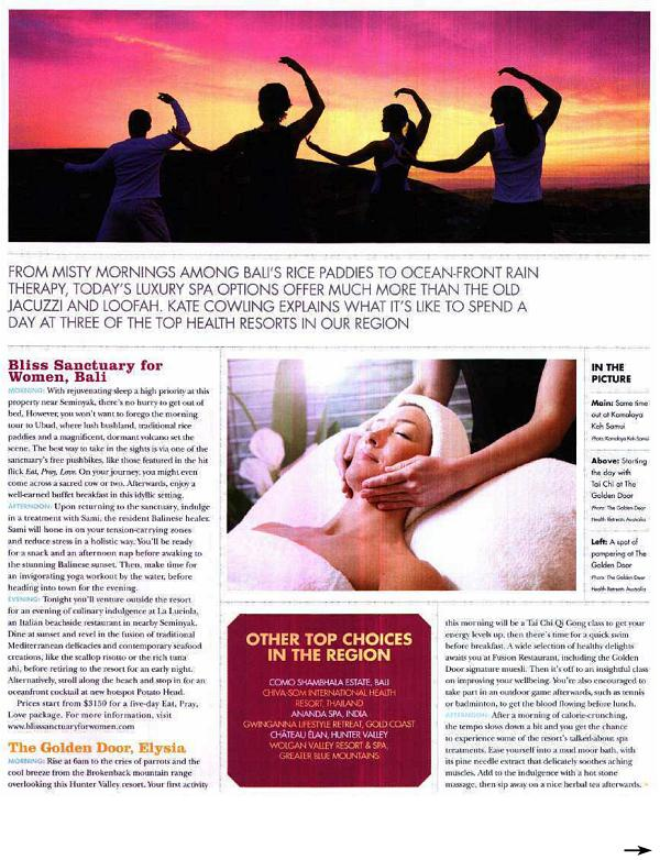 Travel Weekly Magazine: The Latest in Lux – Bliss Sanctuary For Women, Bali