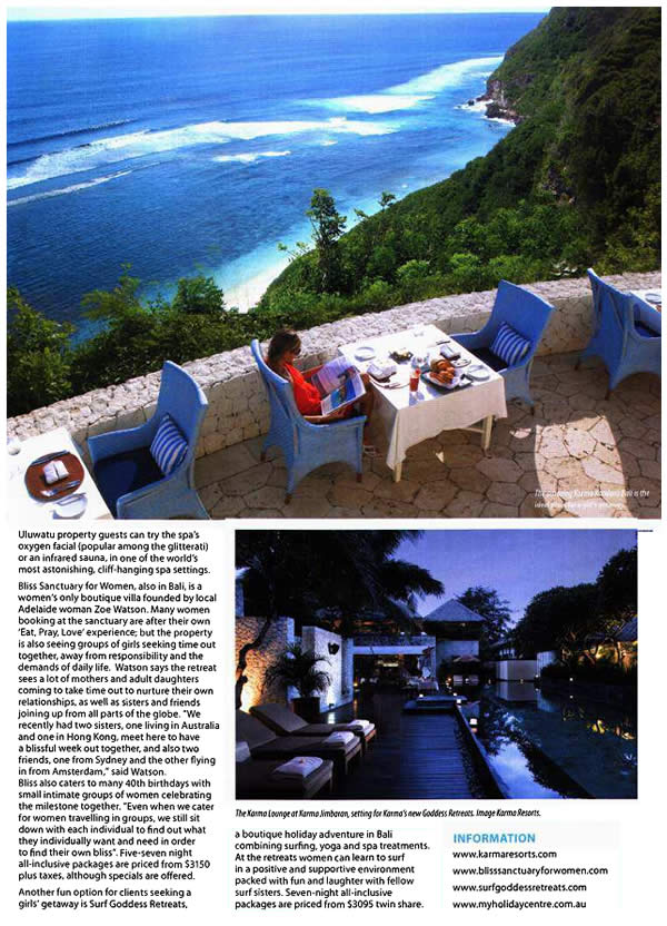 Travel Talk: Glam Girls' Getaways - Bliss Sanctuary For Women