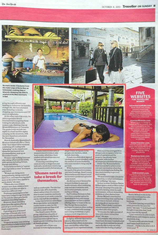 Sun Herald: It's A Girls' World – The Best of Bali Spa Retreats is at Bliss Sanctuary For Women