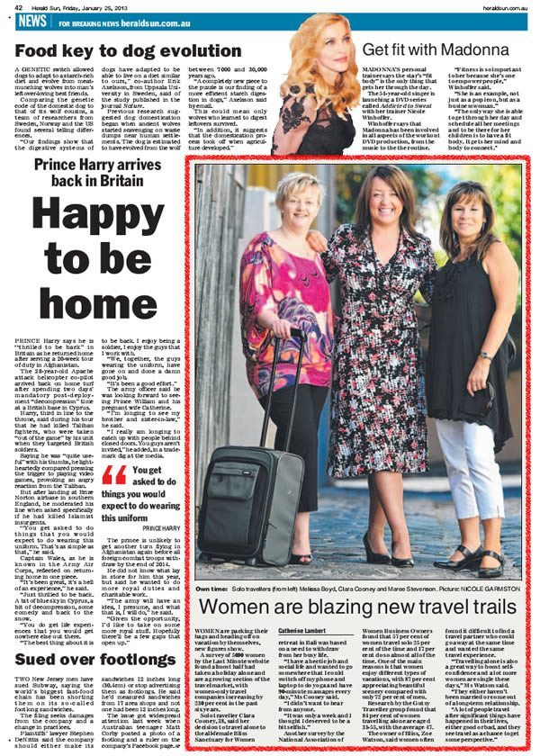 Herald Sun: Women only Travel – Women Are Blazing New Travel Trails